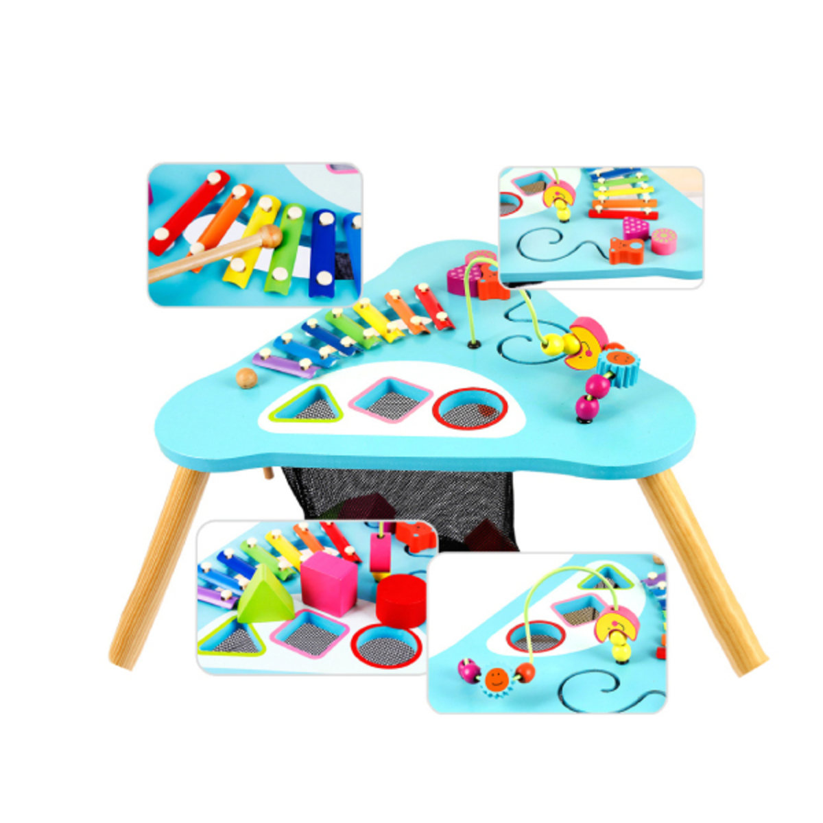 Children Kids Baby Colorful Wooden Activity Table