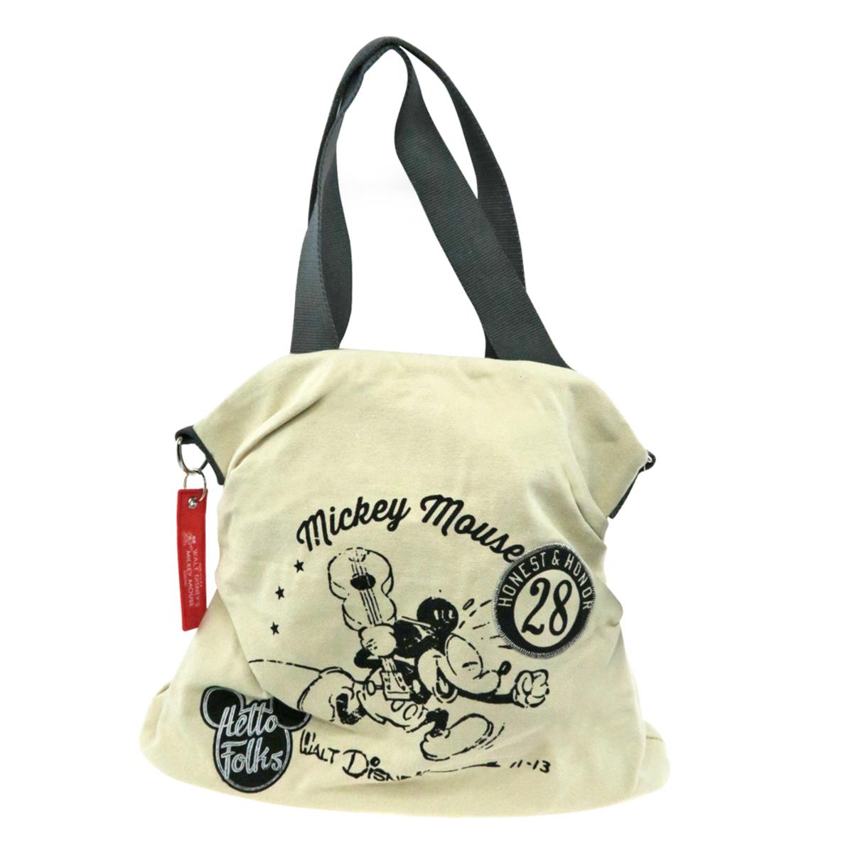 104418af1 DISNEY MICKEY MOUSE HELLO FOLKS CANVAS TOTE BAG   Go Shop