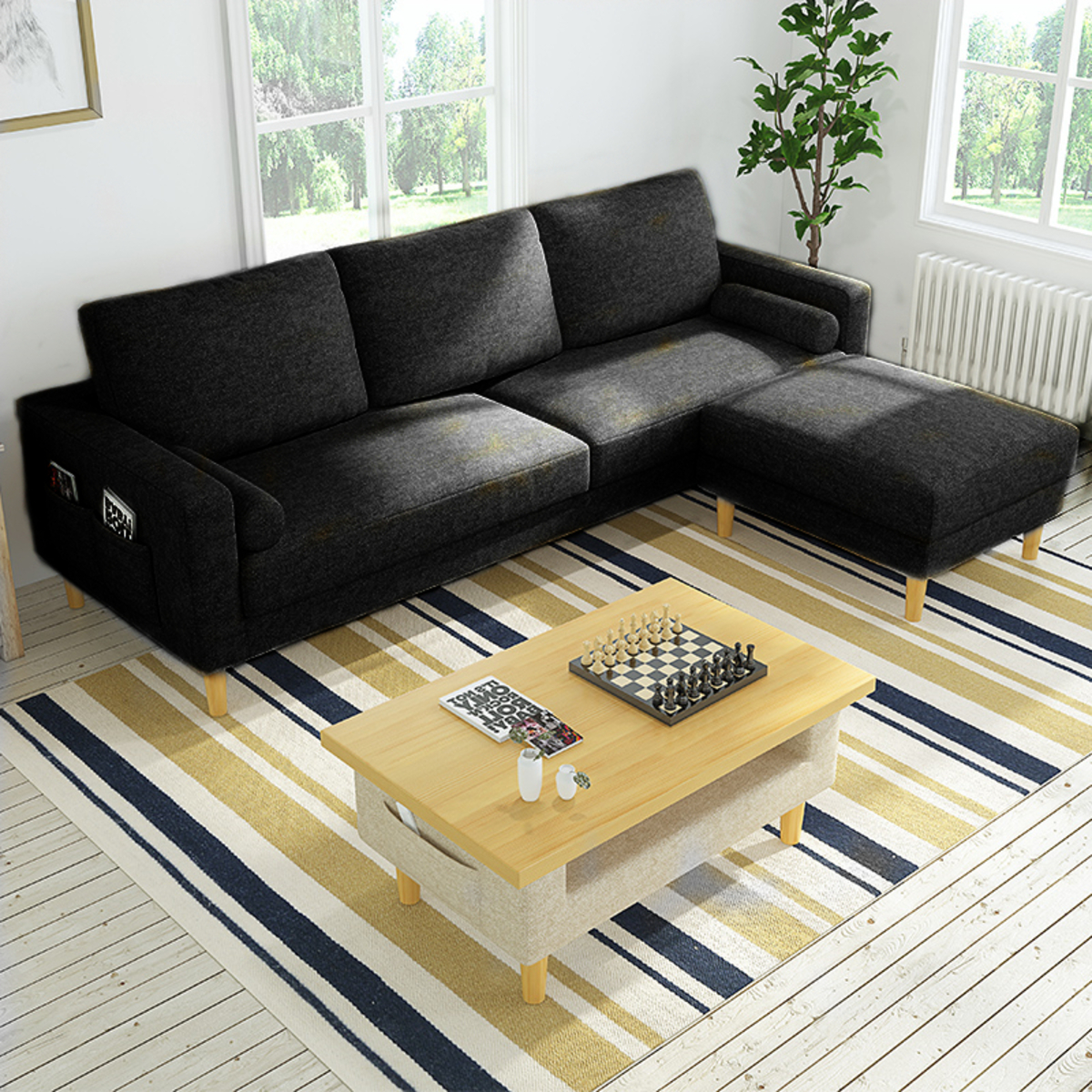Muebles 3-Seater Braga L-Shaped Sofa (Black) | Go Shop
