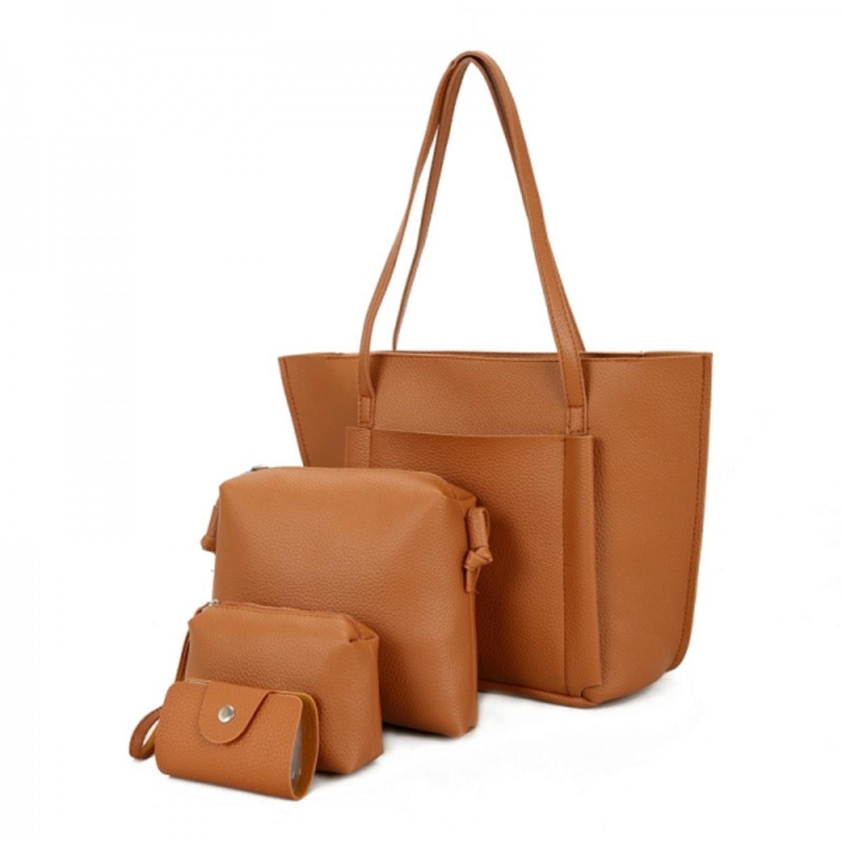 SoKaNo Trendz Premium Style Korean Style PU Leather Bag (Set of 4) - Brown   188cd18acd