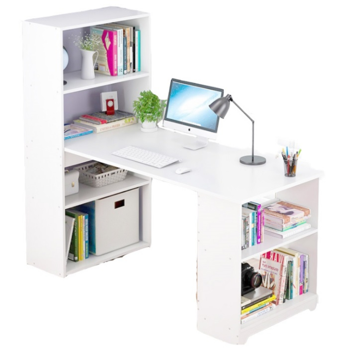 OSUKI Wooden Writing Table And Dekstop Desk With Attached Bookshelf
