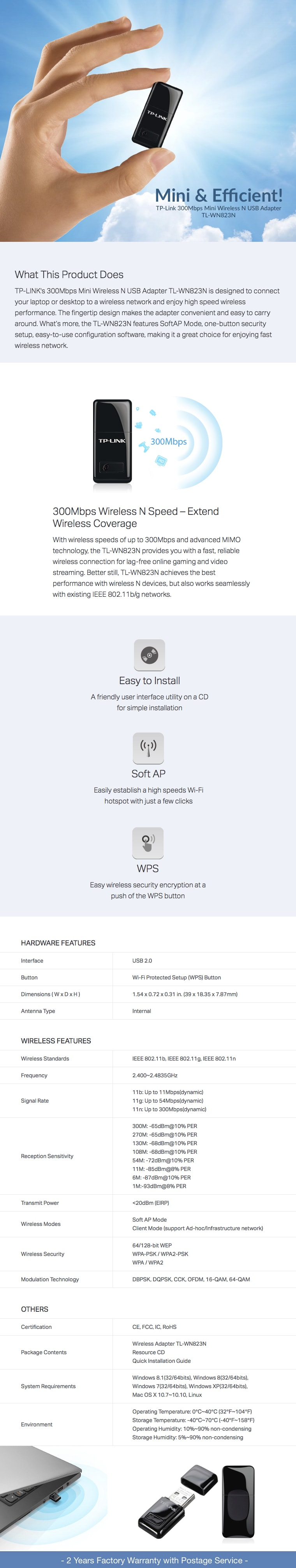 Tp Link 300mbps Mini Wireless N Usb Adapter Tl Wn823n Go Shop Wn 823n Description