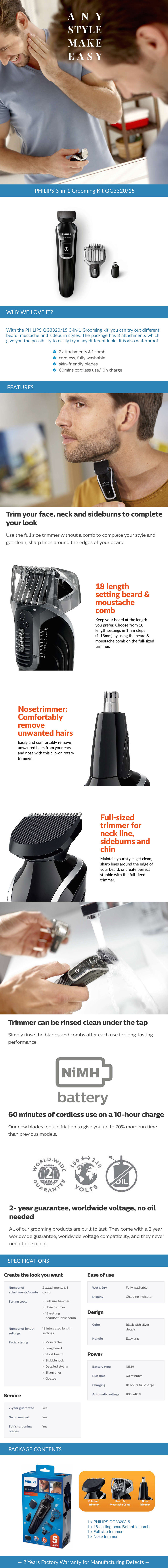 philips 3 in 1 grooming kit qg3320 15 go shop. Black Bedroom Furniture Sets. Home Design Ideas