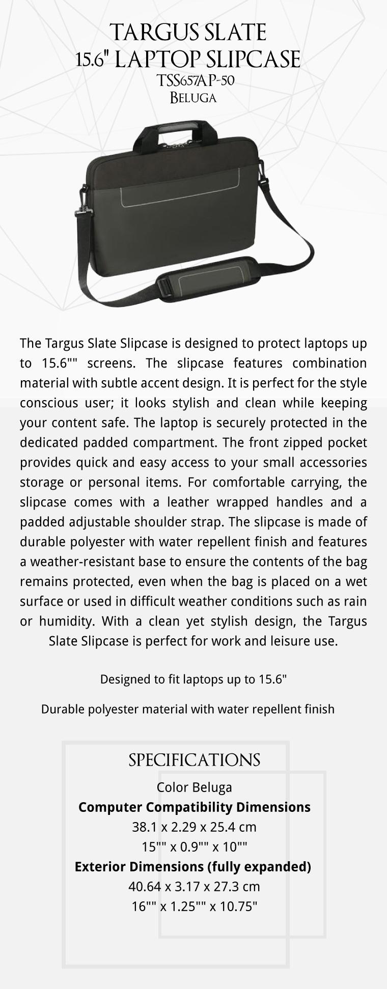 Targus Slate 156inch Laptop Slipcase Tss657ap 50 Beluga Tss657ap